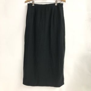 Chocolate black straight pencil skirt silk/linen